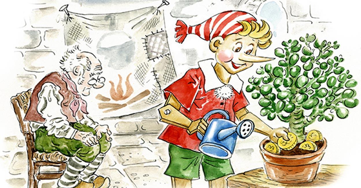 lezioni marketing web pinocchio, vignetta con pinocchio e geppetto