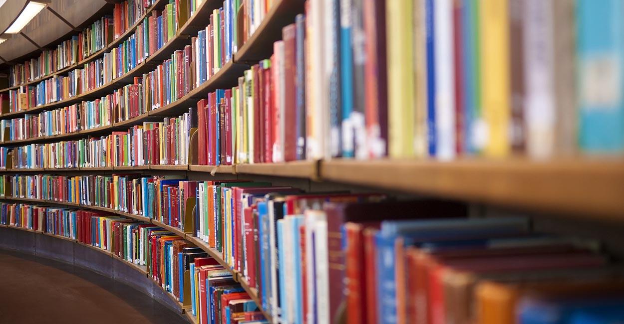 logo biblioteca, scaffale di libri circolari